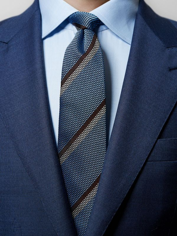 Blue Striped Grenadine Tie