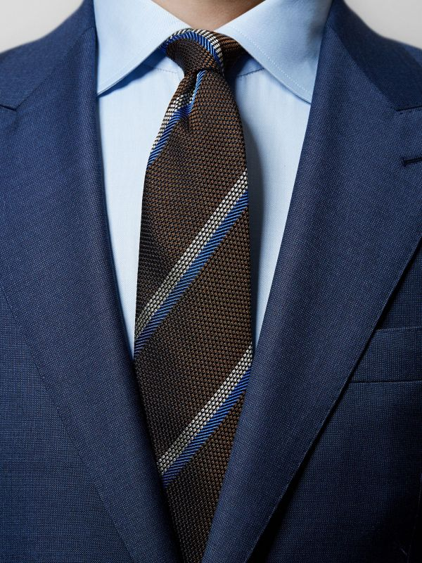 Brown Striped Grenadine Tie