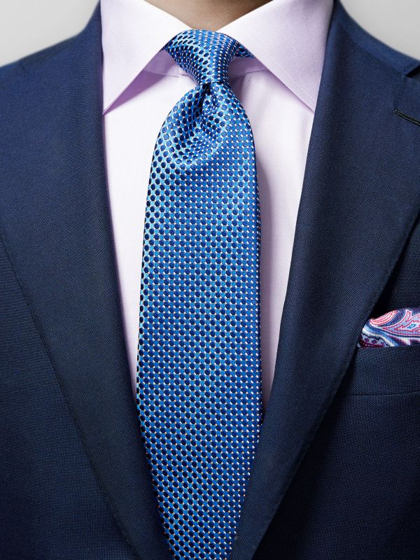 Blue Geometric Silk Tie