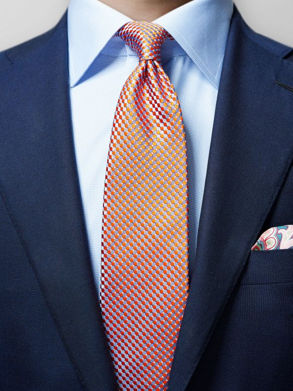 Orange & Blue Geometric Silk Tie