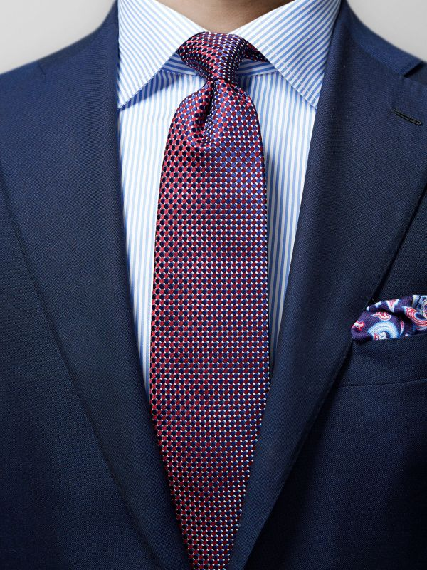 Red Geometric Silk Tie