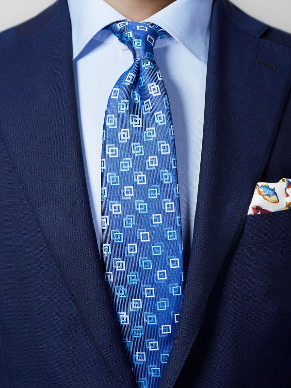 Blue Square Motif Silk Tie