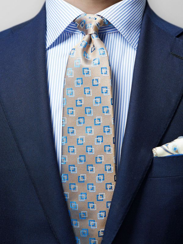 Brown Square Motif Silk Tie