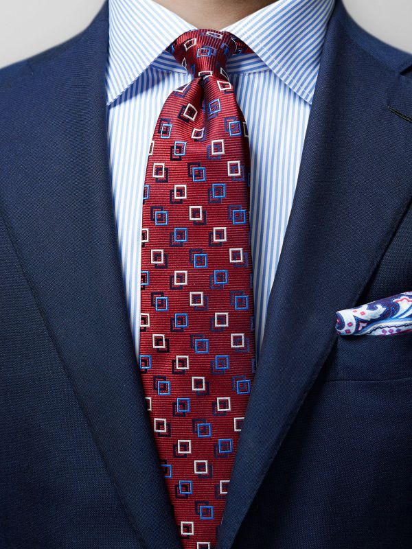 Red Square Motif Silk Tie