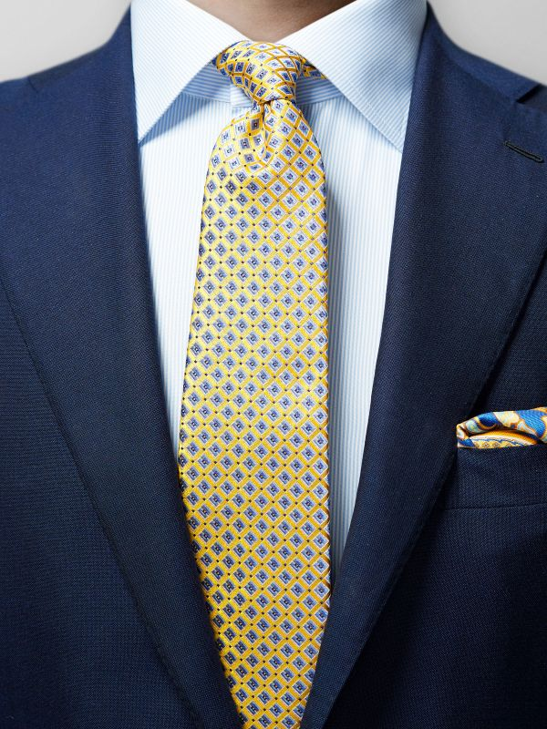 Yellow & Blue Geometric Silk Tie