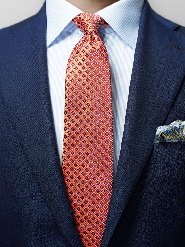 Orange Geometric Silk Tie