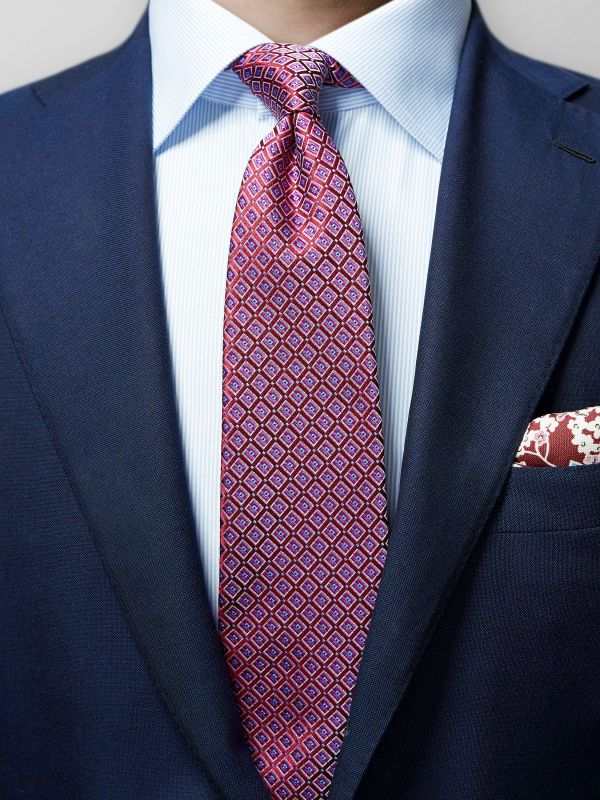 Red & Purple Geometric Silk Tie