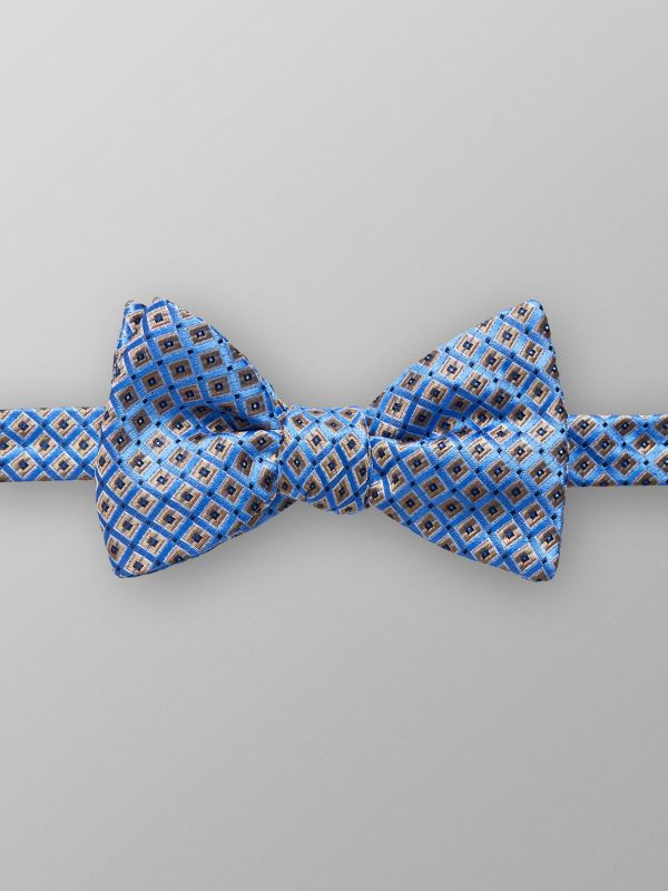 Blue Geometric Bow Tie