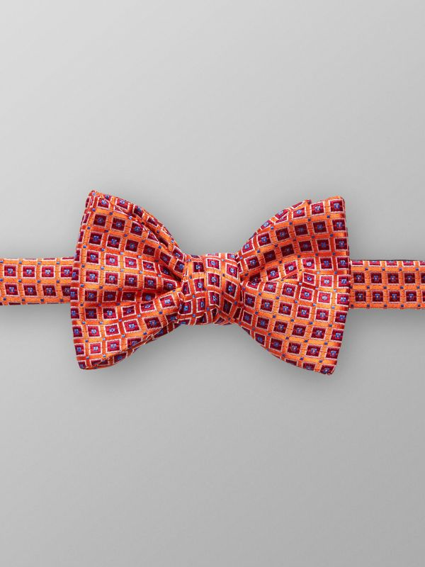 Orange Geometric Bow Tie