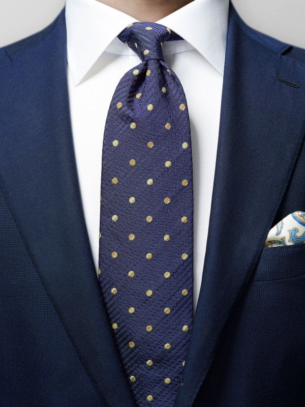 Navy Cotton & Silk Tie