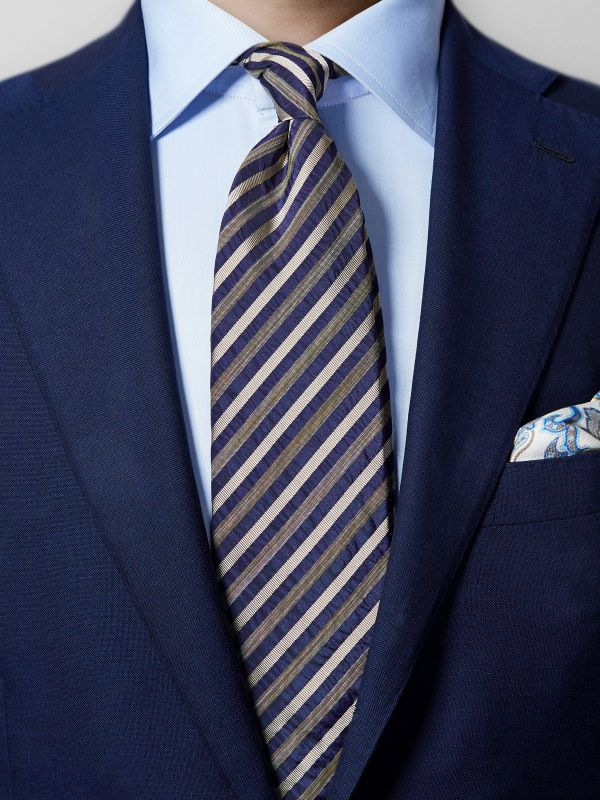 Blue Striped Cotton & Silk Tie