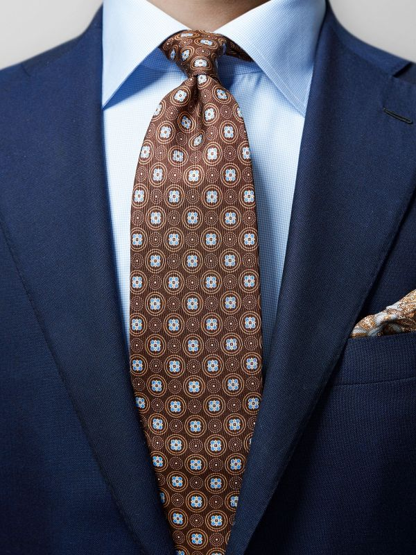 Brown Floral Silk Tie