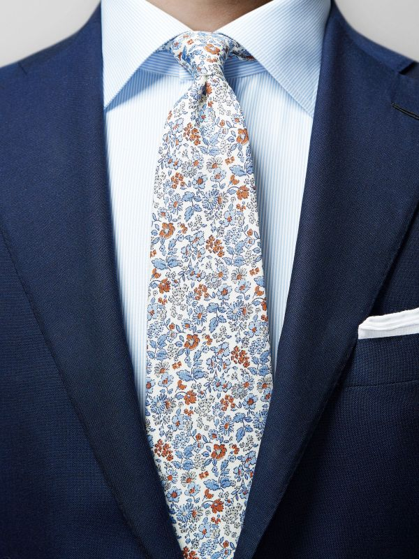 White Floral Cotton & Silk Tie