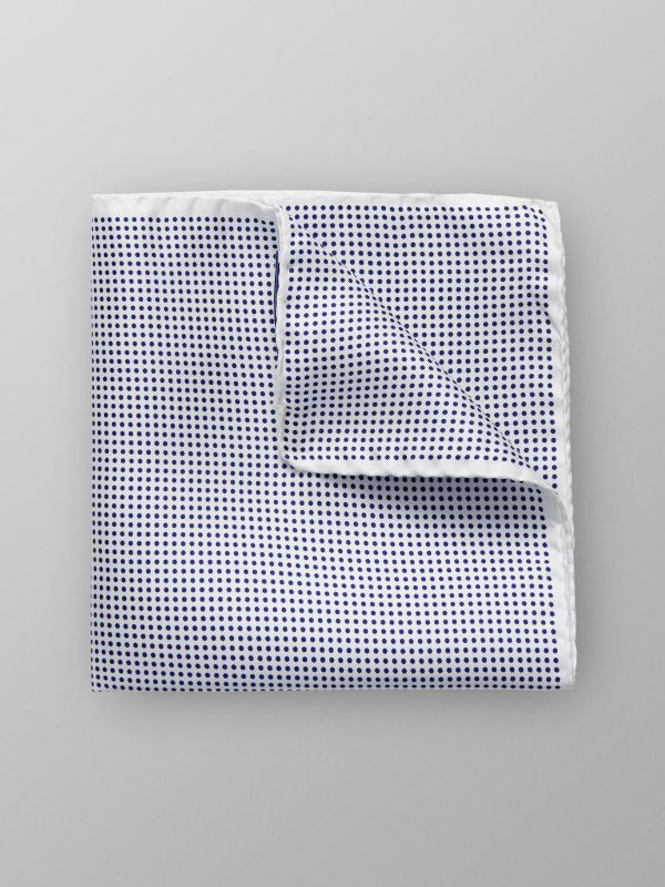 White & Blue Dotted Pocket Square