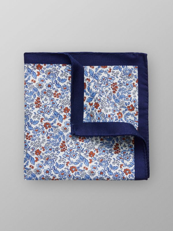 Navy & White Floral Pocket Square