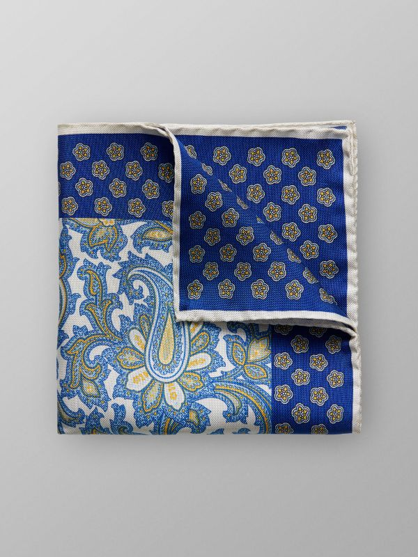 White & Blue Paisley Pocket Square