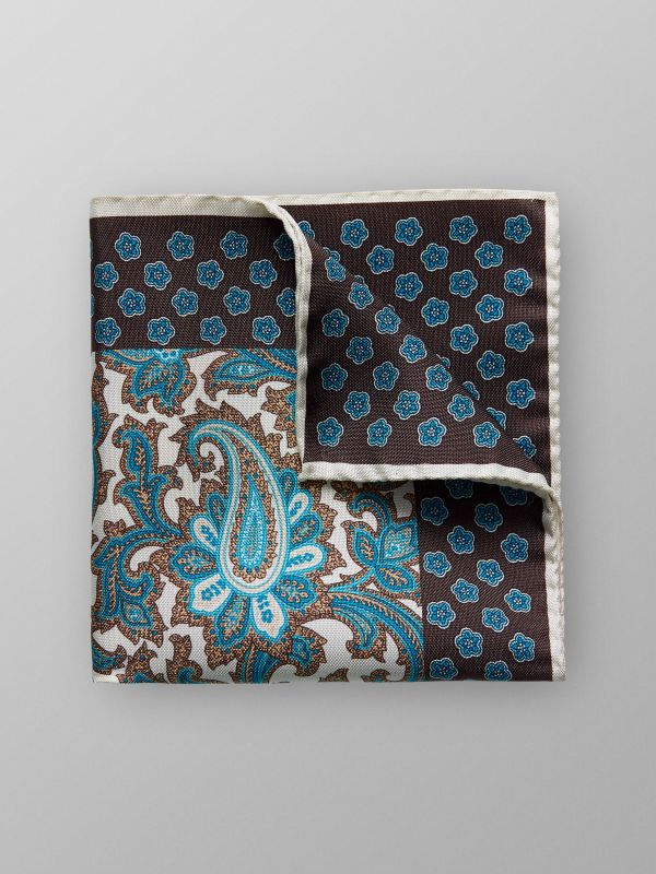 Off-White Paisley Pocket Square