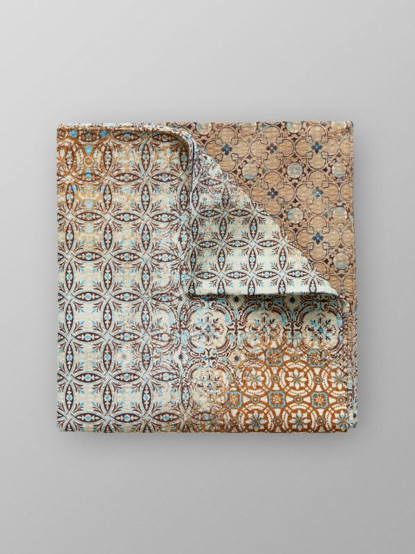 Brown Floral Pocket Square