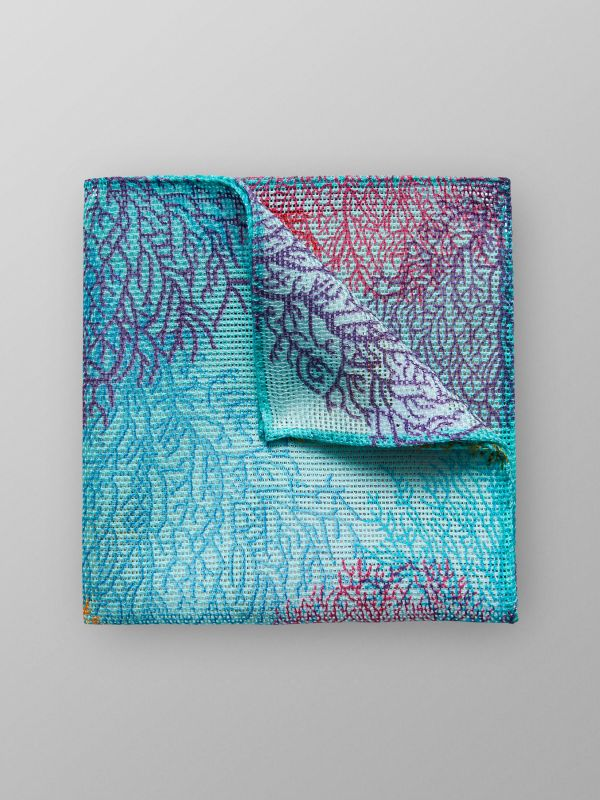 Turquoise Coral Print Pocket Square