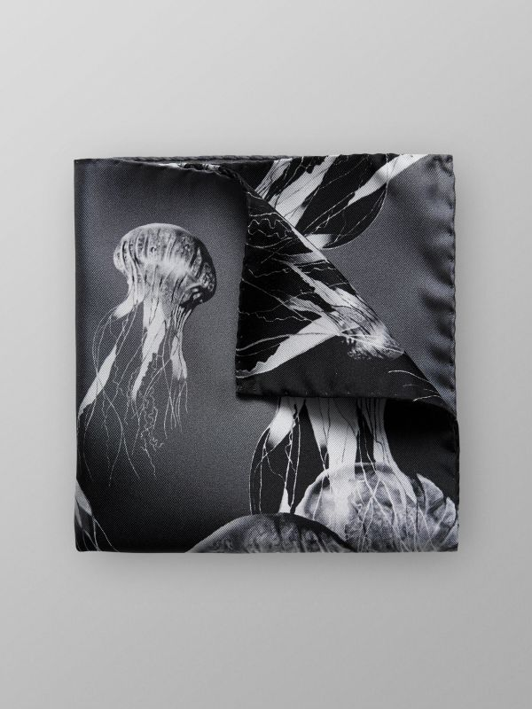 Black Jellyfish Pocket Square
