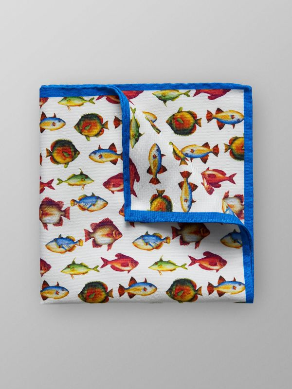 The Fish Print Pocket Square