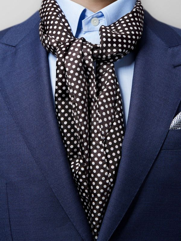 Black Polka Dot Silk Scarf