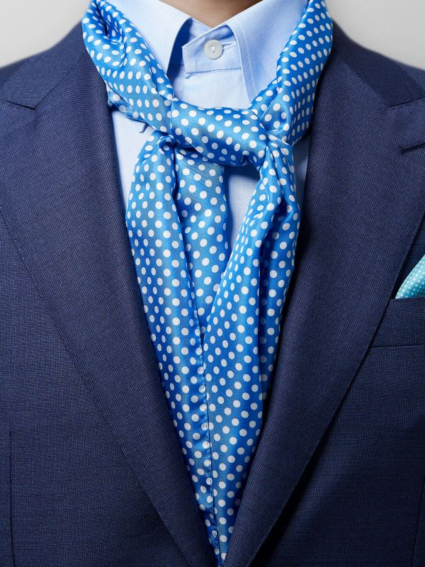Blue Polka Dot Silk Scarf