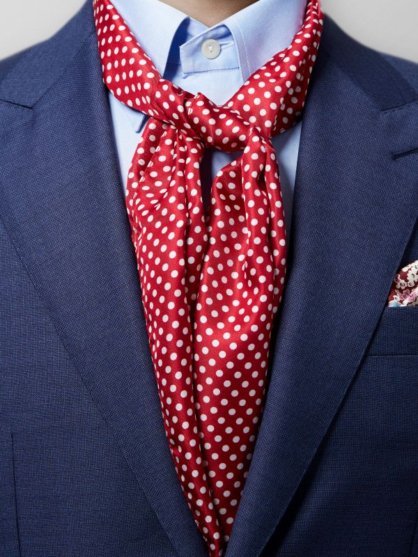 Red Polka Dot Silk Scarf