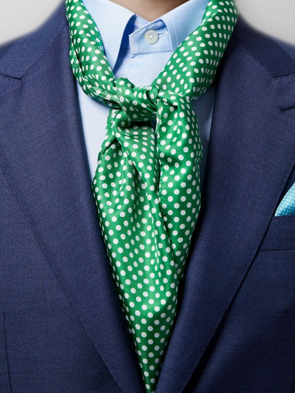 Green Polka Dot Silk Scarf