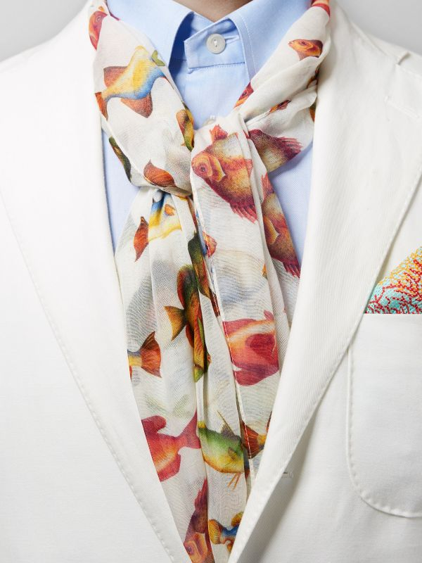 The Fish Print Cotton & Modal Scarf