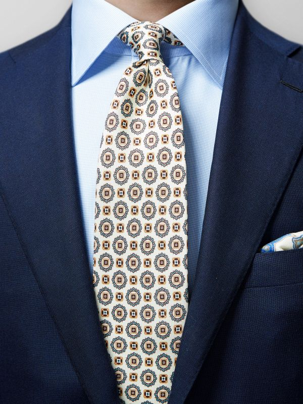 White Geometric Silk Tie