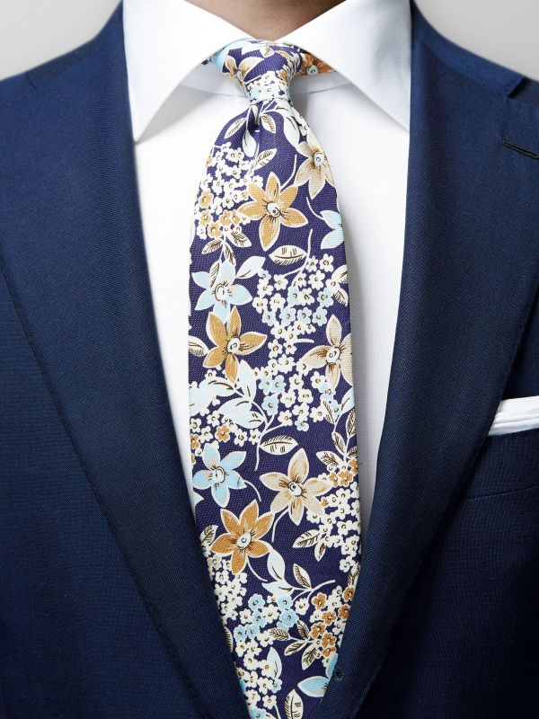 Navy Floral Cotton & Silk Tie