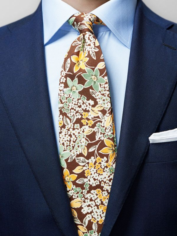 Brown Floral Cotton & Silk Tie