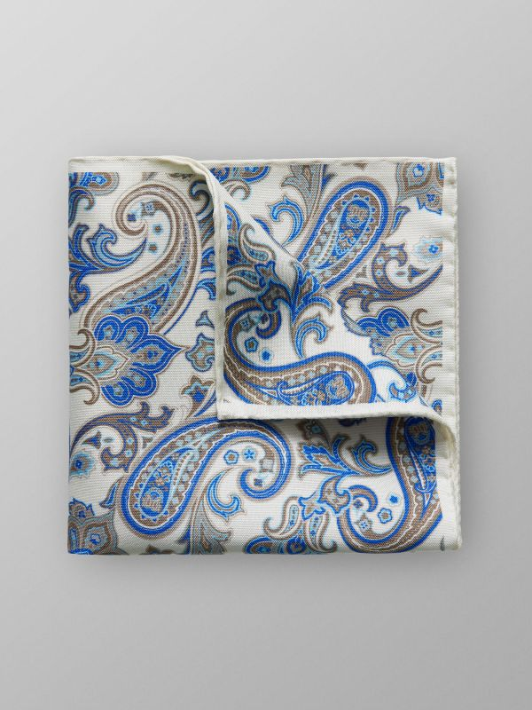 White Paisley Pocket Square