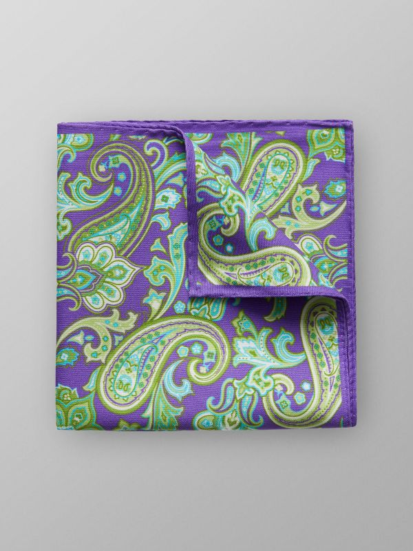 Purple & Gren Paisley Pocket Square