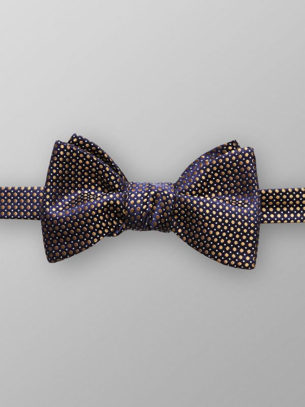Navy Dotted Silk Bow Tie