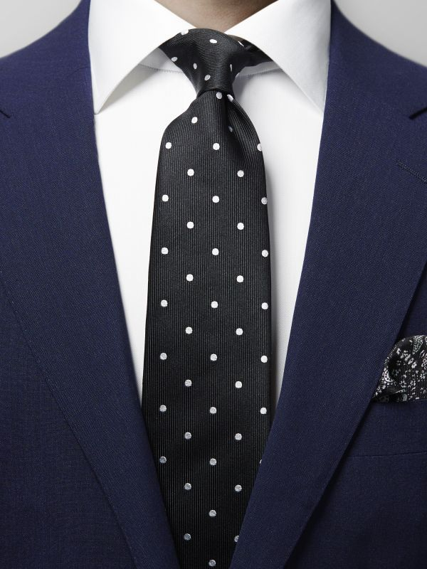 Black Polka Dots Silk Tie
