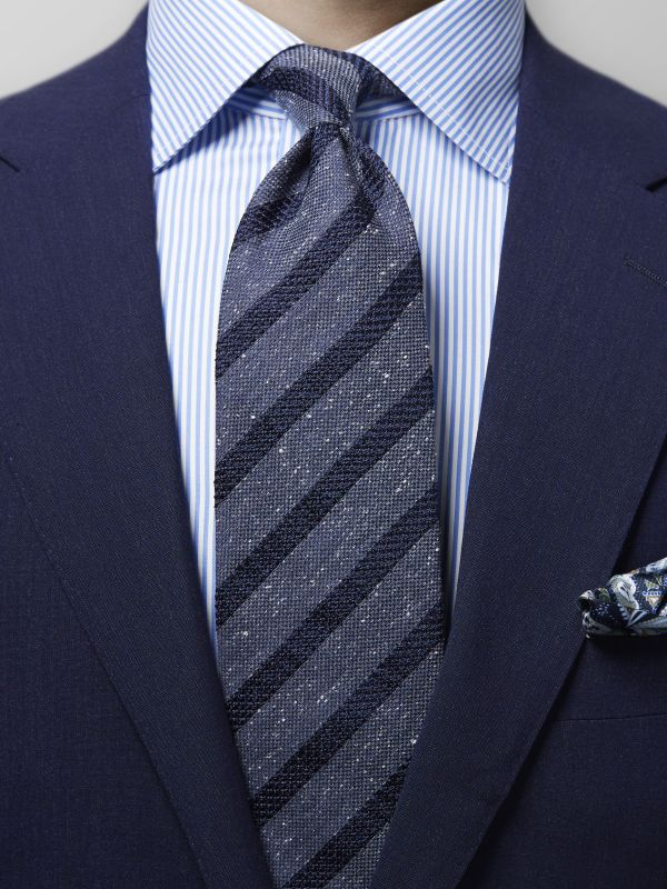 Navy Striped Mélange Silk Tie