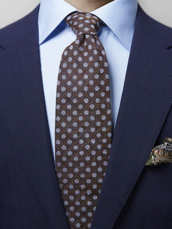 Brown Dotted Silk Tie