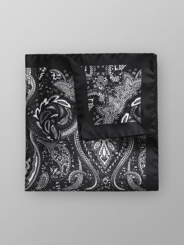 Black Floral Silk Pocket Square