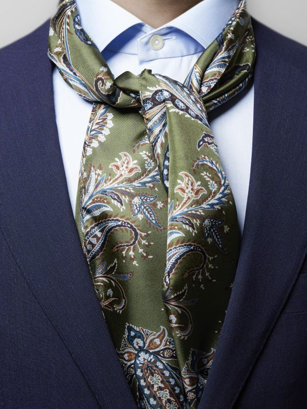 Green Paisley Silk Scarf