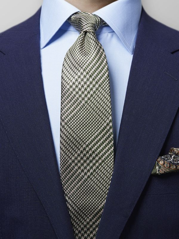 Green Houndstooth Silk Tie