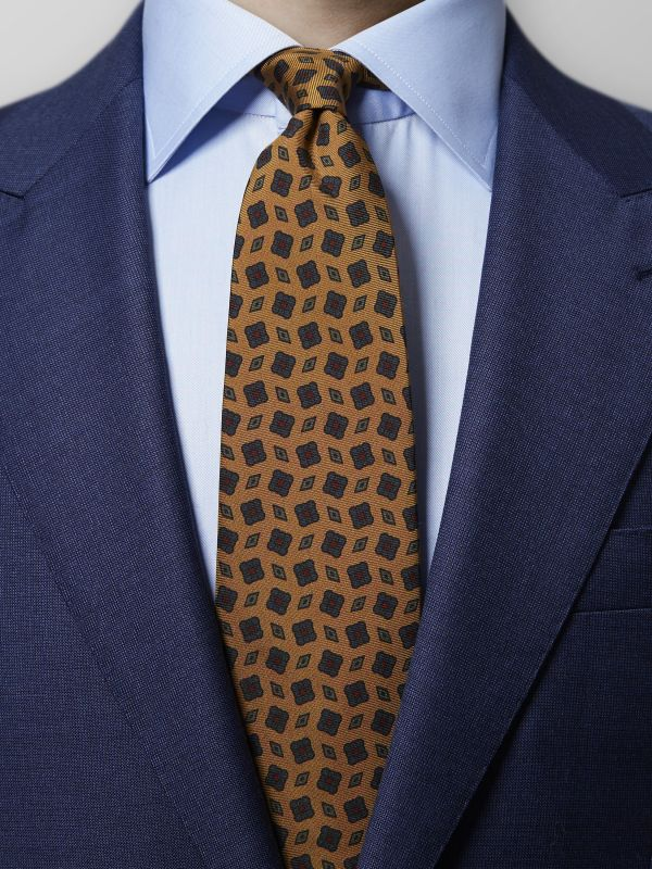 Yellow Medallion Madder Silk Tie