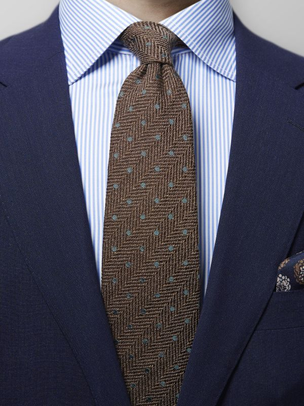 Green Dots Herringbone Tie