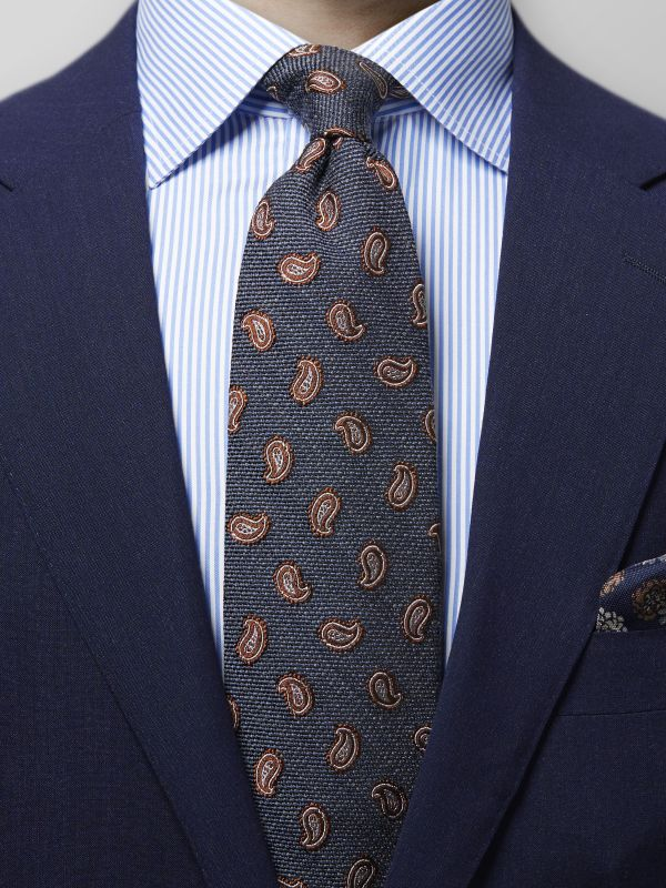 Grey Wool & Silk Paisley Tie