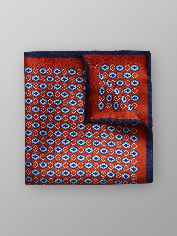 Orange Geometric Silk Pocket Square