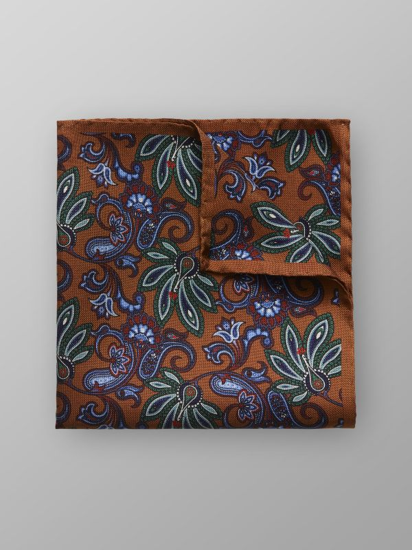 Brown Floral Silk Pocket Square
