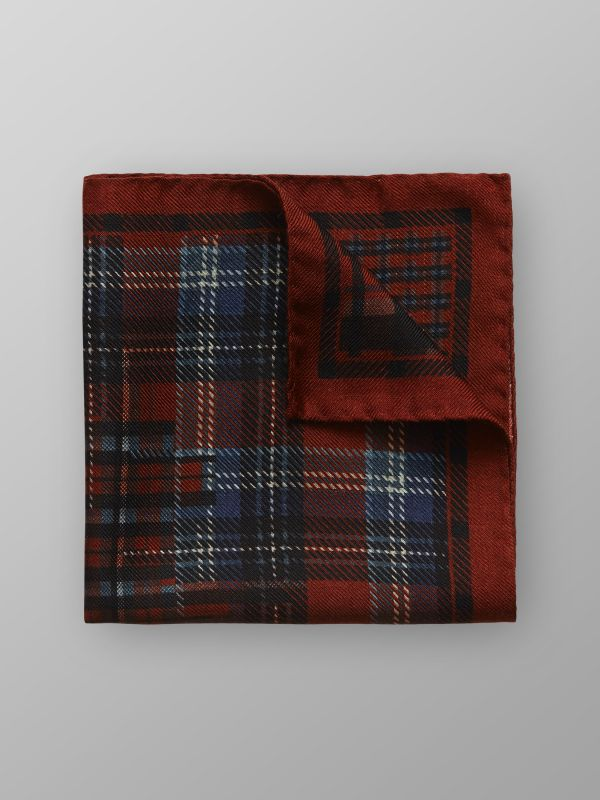 Check Wool & Silk Pocket Square
