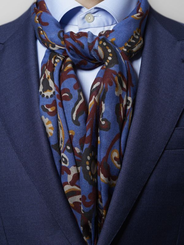 Blue Paisley Modal & Wool Scarf