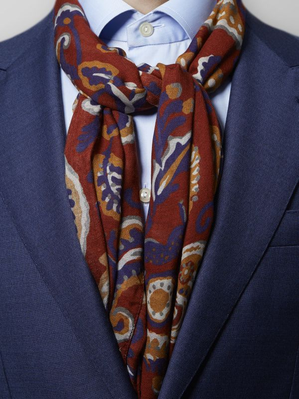 Red Paisley Modal & Wool Scarf